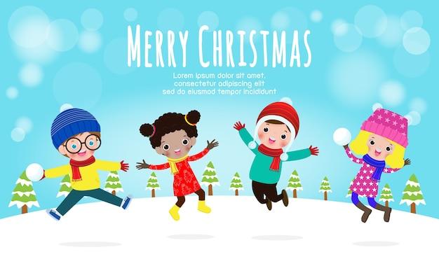 Buon natale e felice anno nuovo, illustrazione vettoriale di bambini che giocano all'aperto in inverno isolato su priorità bassa bianca