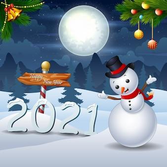 Buon natale e felice anno nuovo nel paesaggio notturno invernale