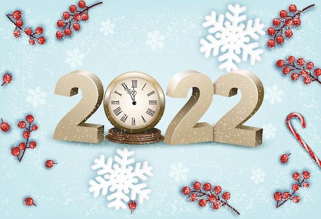 Buon natale e felice anno nuovo con le bacche rosse del fiocco di neve dell'orologio su un fondo blu