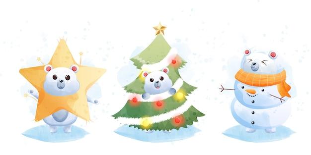 Buon natale e felice anno nuovo con simpatico orso polare.