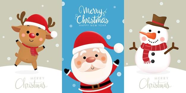 Buon natale e felice anno nuovo con simpatico babbo natale, renne e pupazzo di neve.
