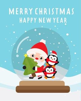 Buon natale e felice anno nuovo con simpatici babbo natale e amici