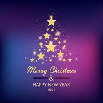 Buon natale e felice anno nuovo con stelle dorate a forma di albero di natale sul colore della luce al neon