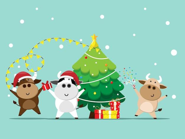 Buon natale e felice anno nuovo con bue, mucca carina nel personaggio dei cartoni animati del partito