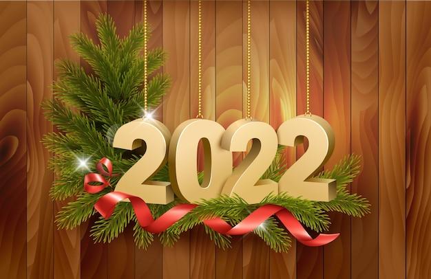 Buon natale e felice anno nuovo con nastri rossi ramo di albero di natale