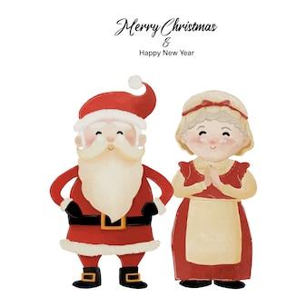 Buon natale e felice anno nuovo con babbo natale e sua moglie la sig.ra claus in piedi insieme. disegno ad acquerello su sfondo bianco