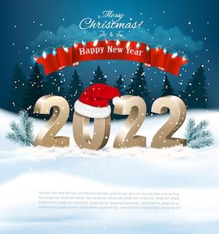 Buon natale e felice anno nuovo con il ramo di un albero del cappello di babbo natale