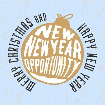 Buon natale e felice anno nuovo con uno slogan.
