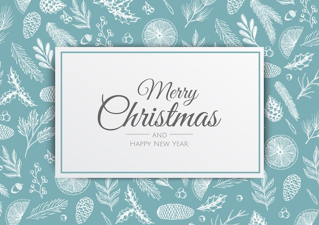 Buon natale e felice anno nuovo. sfondo di natale con piante invernali. biglietto di auguri, banner per le vacanze, poster web