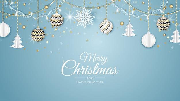 Buon natale e felice anno nuovo. sfondo di natale con albero di natale, fiocchi di neve, stelle e palline. biglietto di auguri, banner per le vacanze, poster web