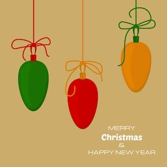Buon natale e felice anno nuovo sfondo giallo con tre palle di natale. sfondo vettoriale per biglietti di auguri, inviti, manifesti festivi.