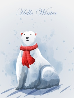 Buon natale e ciao inverno con orso polare. Vettore Premium
