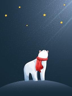 Buon natale e ciao inverno con orso polare.