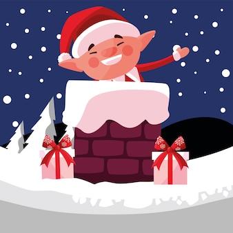 Regali di aiutante di buon natale nel camino con illustrazione di neve