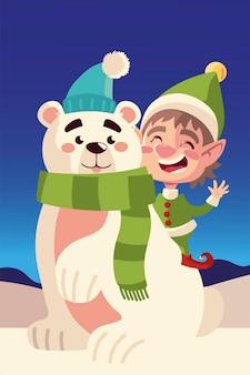 Illustrazione di vettore di paesaggio innevato del fumetto dell'orso polare e dell'assistente di buon natale