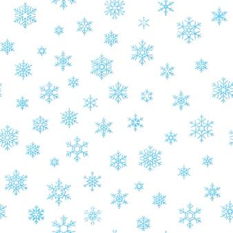 Fondo di effetto della decorazione di festa di buon natale. modello senza cuciture blu fiocco di neve.
