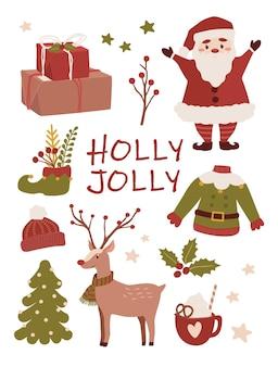 Set di adesivi per l'illustrazione delle vacanze di buon natale