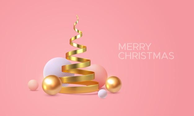 Buon natale segno di vacanza con forme astratte 3d su sfondo rosa tenue