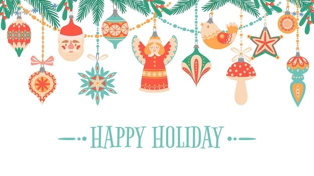 Buon natale. biglietto di auguri per le vacanze con accessori tradizionali per il nuovo anno e sms felici, modello di vettore piatto cartolina colorata. giocattoli decorativi natalizi con rami verdi di abete