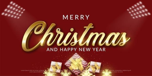 Modello di banner orizzontale di buon natale con decorazioni natalizie