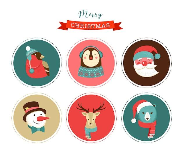 Icone di buon natale, elementi e personaggi in stile retrò, illustrazioni, cartellini ed etichette
