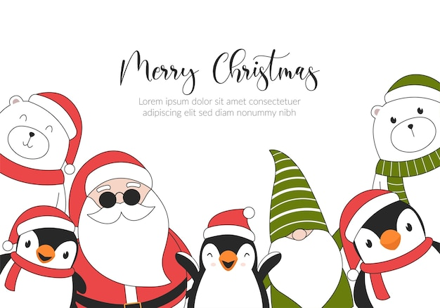 Carta di illustrazione di buon natale con orsi polari, pinguini, elfi e babbo natale.
