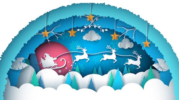 Illustrazione di buon natale. paesaggio di carta dei cartoni animati Vettore Premium