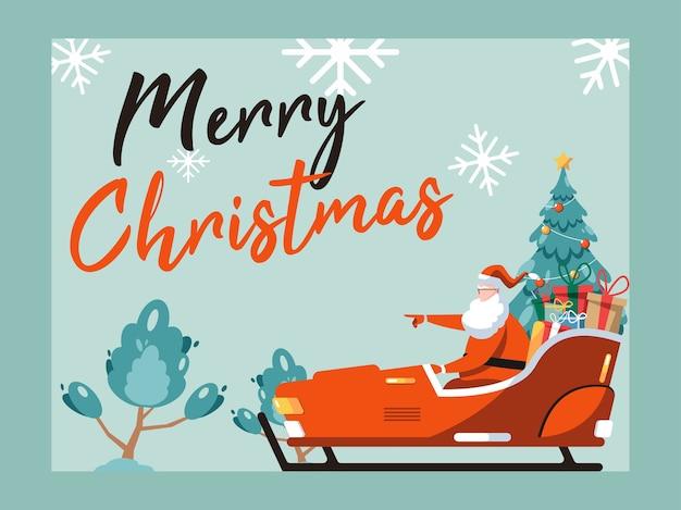 Illustrazione di buon natale. simpatico cartone animato babbo natale seduto in slitta con presente e albero di natale