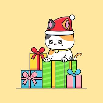 L'illustrazione di buon natale con il gatto sveglio indossa il cappello della santa
