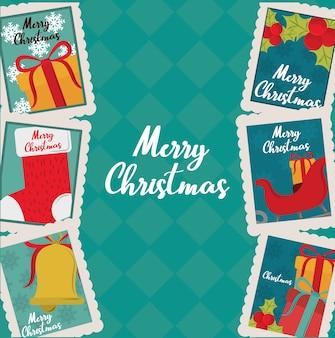 Buon natale, carta di invito con calzino, regalo, campana e bacche di agrifoglio, illustrazione delle icone del bollo della decorazione