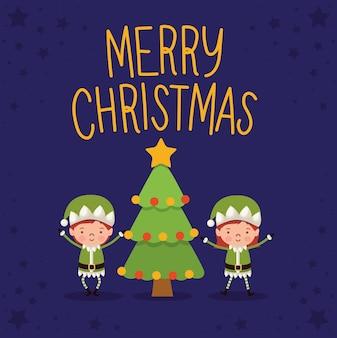 Iscrizione di buon natale con due elfi e un albero.