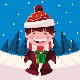Buon natale ragazzino con regalo paesaggio invernale illustrazione