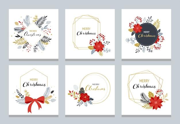 Loghi di buon natale, monogrammi eleganti e delicati disegnati a mano isolati su priorità bassa bianca.