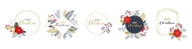 Loghi di buon natale, monogrammi eleganti e delicati disegnati a mano isolati su bianco