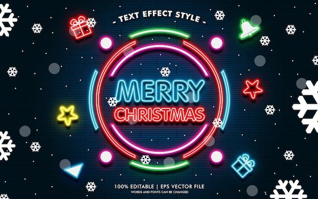 Buon natale più banner regalo con stile di effetti di testo al neon