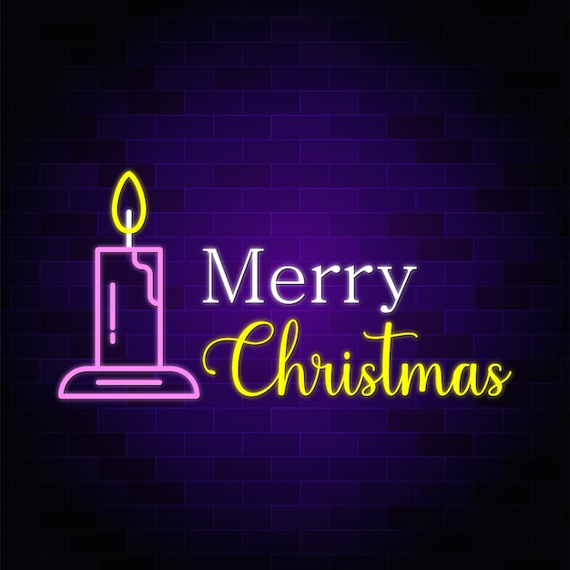 Segno di testo al neon di buon natale con la candela