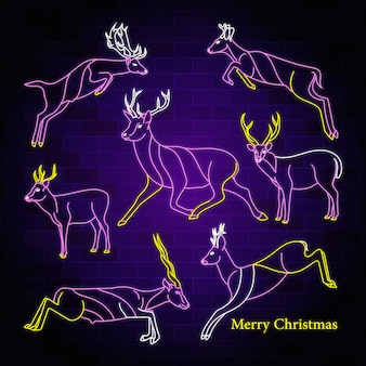 Testo di tipografia al neon di buon natale con disegno di vettore dell'illustrazione dei cervi di salto
