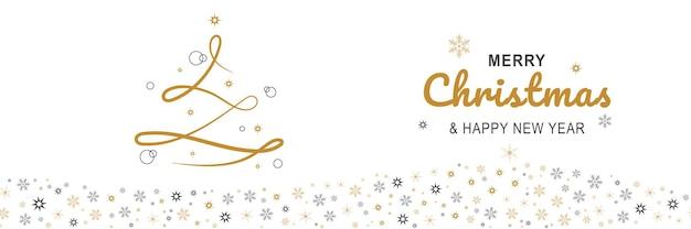 Buon natale e capodanno 2022 poster banner minimo di natale con albero di linea dorata e fiocchi di neve