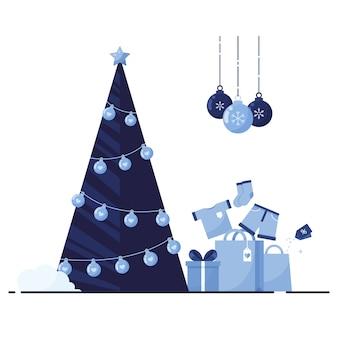 Buon natale e anno nuovo come modello per le vacanze con albero di natale e scatole regalo con vestiti su priorità bassa bianca. blu