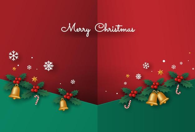 Carta di buon natale o capodanno con campana e foglie di pino