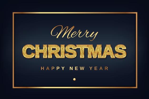 Buon natale e anno nuovo testo dorato con brillanti glitter su uno sfondo scuro in una cornice dorata.