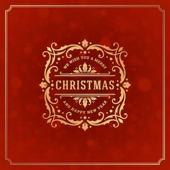 Buon natale e anno nuovo biglietto di auguri e luce con fiocchi di neve. le vacanze desiderano un design di etichette tipografiche retrò e decorazioni di ornamenti vintage.