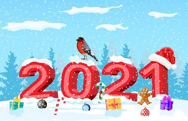 Cartolina di natale di auguri di buon natale e capodanno con 2021 lettere in grassetto