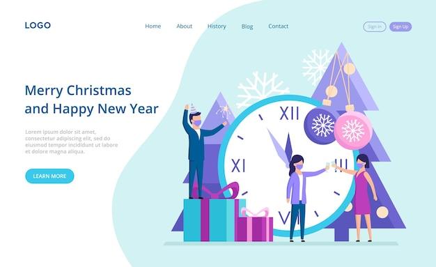 Buon natale e pagina di destinazione del nuovo anno