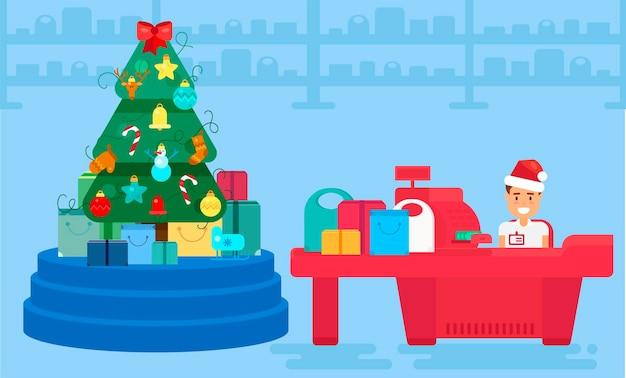 Buon natale e anno nuovo in negozio. negozio con folla di clienti e cassiere vicino alla cassa. regali e regali. illustrazione del concetto di acquisto. bandiera di giorno di santo stefano di vendita. vettore