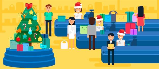 Buon natale e anno nuovo in negozio. negozio con folla di clienti e cassiere vicino alla cassa.