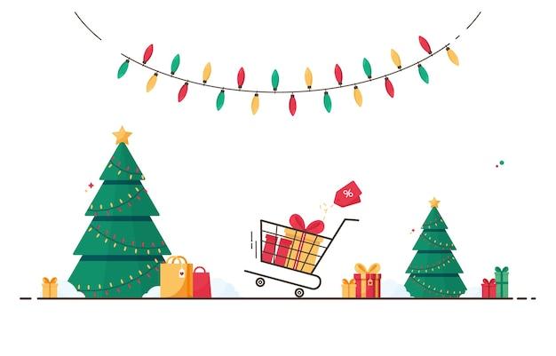 Buon natale e anno nuovo in vendita invernale con alberi di pino e regali su sfondo bianco