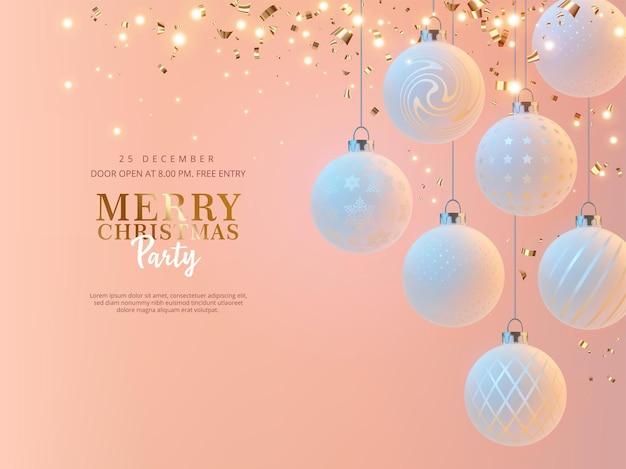 Modello di banner per feste di buon natale in stile minimalista