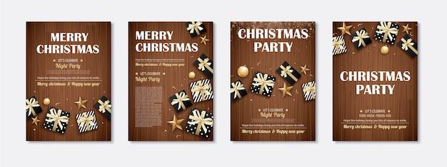 Buon natale e concetto di tema dell'invito del contenitore di regalo del partito su fondo di legno.