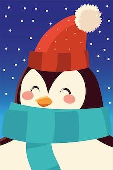 Buon natale pinguino con cappello e sciarpa personaggio ritratto fumetto illustrazione vettoriale